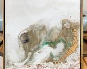 """Resin Art Framed Painting Gold Leaf White green Cream 24"""" x 24"""" """"Elephammoth"""""""
