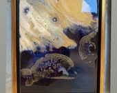 """Abstract Painting Gold and Resin 6"""" x 8"""" Framed"""