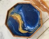 "8"" Blue and Gold Acacia Ocean Tray"