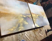 "Resin Gold Leaf Pink White Yellow Series of 2 - ""Dusted Reflections"""