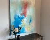 """Large Blue Abstract Painting 36"""" x 48"""" Possibilities"""