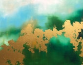 "Green Gold Leaf Landscape Abstract Painting ""Spring Greening"" series 30"" x 40"" on canvas"