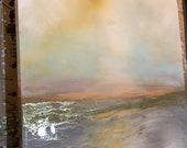 "Large Landscape Abstract Gold and White Resin Painting, 30"" x 40"" on wood ""Endings are new Beginnings"""