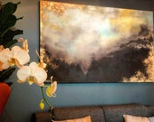 "Large Gold Leaf Landscape Painting - ""Golden Gift"" in 48"" x 72"""
