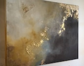 "Large Painting Gold Leaf Abstract Yellow and Brown - 30"" x 40"" - ""Aerial Storm"""