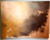 "Gold Leaf Gold and Neutral Soft Abstract Painting - ""Aerial Storm3"" in 30"" x 40"""