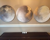 "Moon Round Abstract Painting Gold Grey - ""To the Moon and Back"" - 20"" circular or custom series"