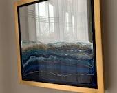 "Ocean Art on Mirrors, Framed Series 14"" x 14"" each"
