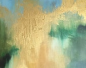 """Green gold white long abstract """"Spring Greening"""" 36"""" x 18"""" painting"""