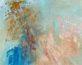 """Large Blue Abstract Painting Ocean """"Early Bird"""" in 36"""" x 36"""""""