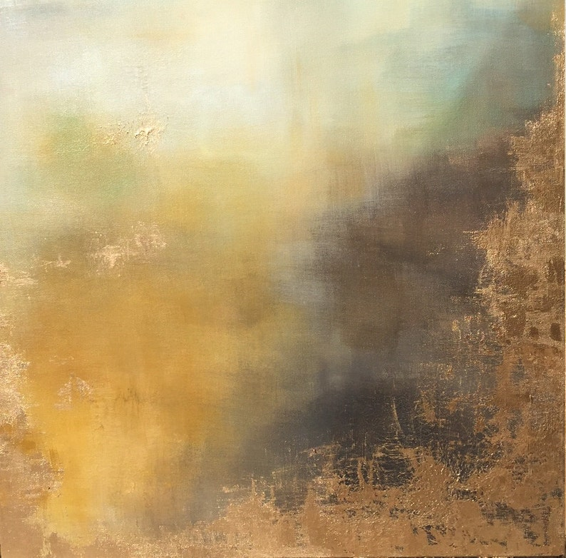 Abstract Painting Gold Leaf Art Aerial Storm in image 0