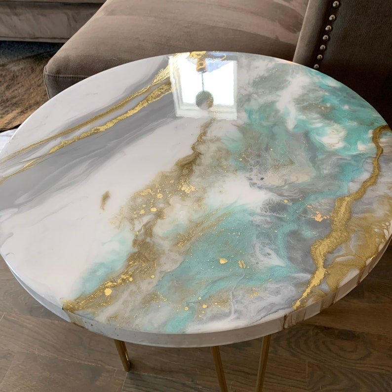 Gold White and Mint Side Table in Resin