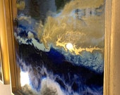 """Gold Resin Painting on Mirrors Blue Ocean in a frame 12"""" x 12"""""""