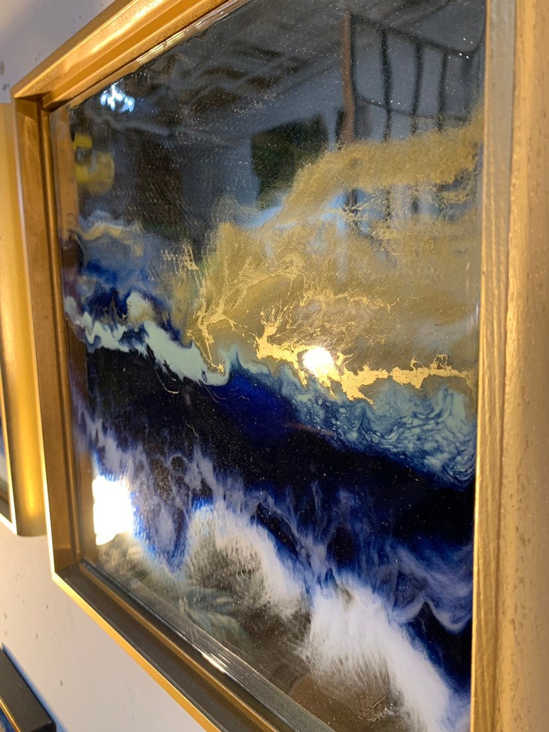 Gold Resin Painting on Mirrors Blue Ocean in a frame 12 image 0