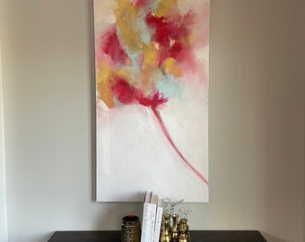 """Large Red and Gold Leaf Flower Abstract Painting """"Dandefloral"""" in 48"""" x 24"""""""