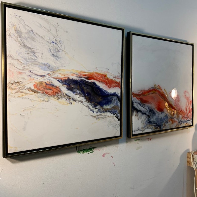 Large Abstract Painting Diptych Fire and Ice image 0