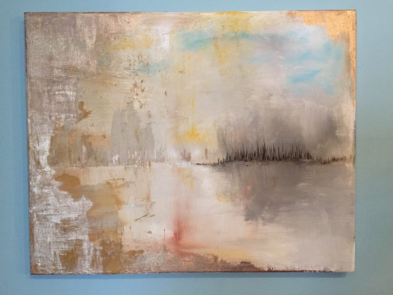 Abstract Lake Gold Leaf Painting  20 x 24 image 0