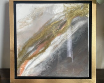 """Grey, White, Coral and Gold Framed Painting Resin 14"""" x 14"""""""