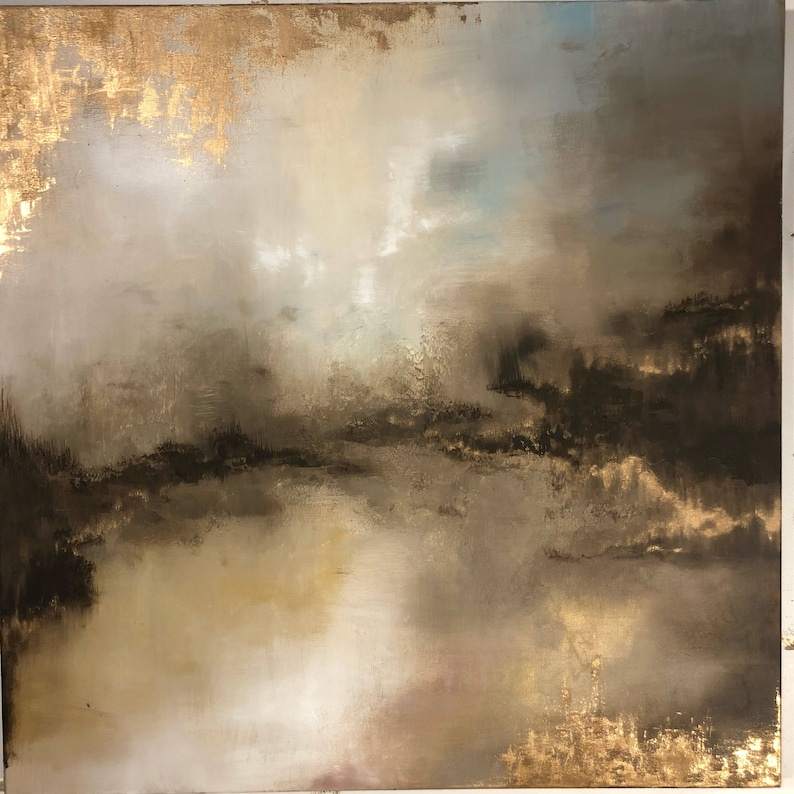 Large Gold Leaf Abstract Painting  36 x 36  image 0