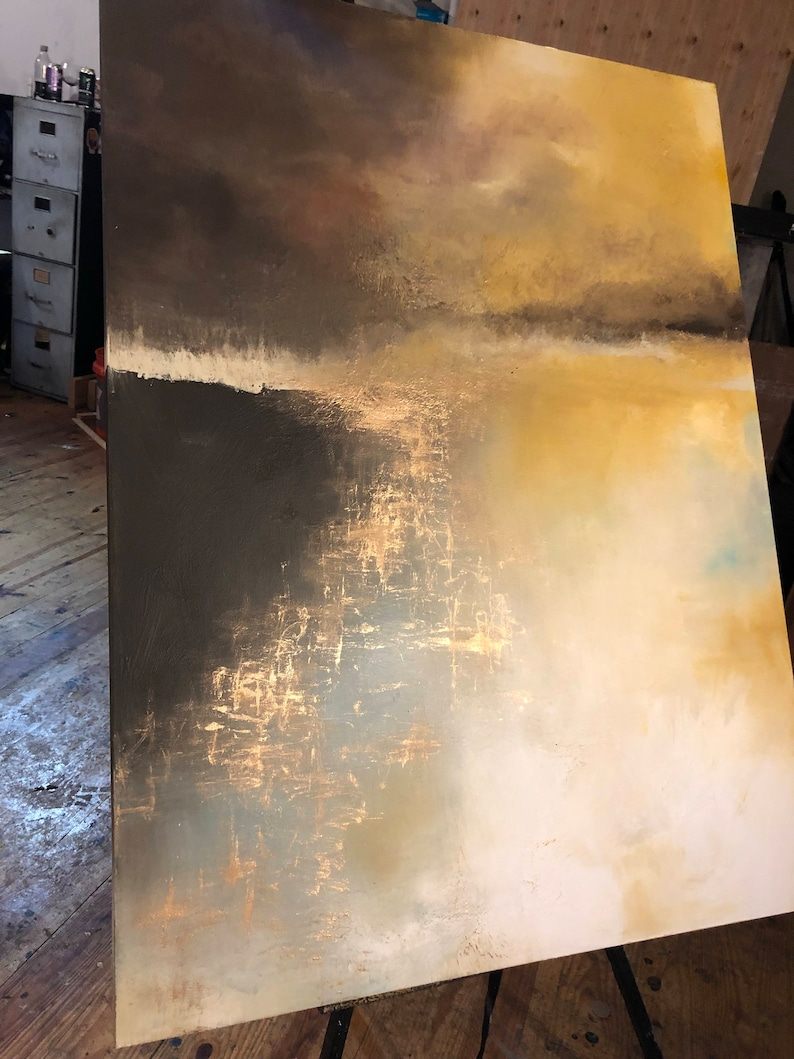 SOLD Large Painting Gold Landscape Abstract in 36 x image 0