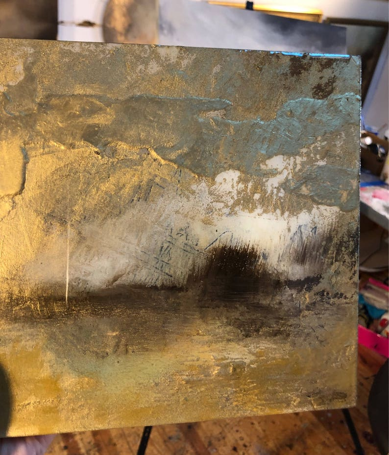 SOLD Resin Gold Painting Art Landscape 8 x 8 on image 0