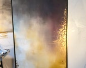 """Gold Leaf Grey Large Abstract Painting """"Aerial Storm"""" series 20"""" x 60"""" and up"""