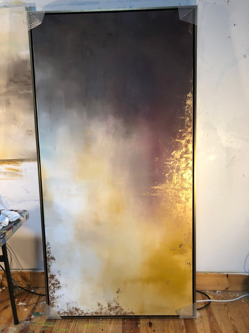 Gold Leaf Grey Large Abstract Painting Aerial image 0