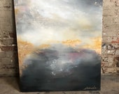 """Gold Leaf Pink Grey Abstract Painting by ErinEliseArtiste 24"""" x 36"""""""