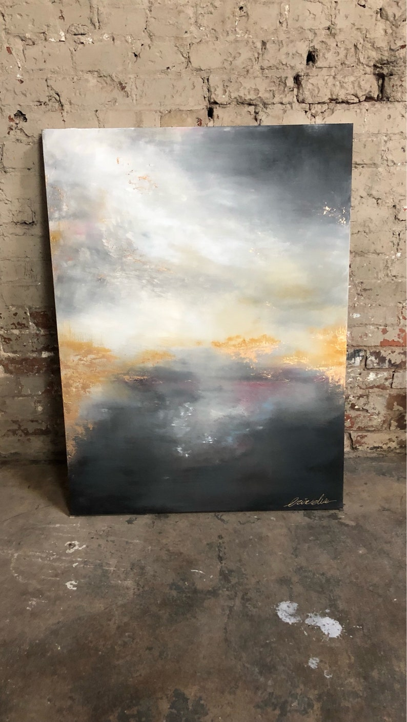 Gold Leaf Pink Grey Abstract Painting by ErinEliseArtiste image 0