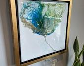 "Green Teal Gold Flower Framed Painting Resin 12"" x 12"" ""Azulia"""