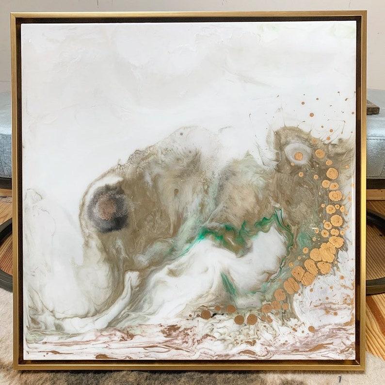 Resin Art Framed Painting Gold Leaf White green Cream 24 image 0