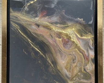 """SOLD OUT Grey, White, Pink and Gold Framed Painting Resin 14"""" x 14"""""""