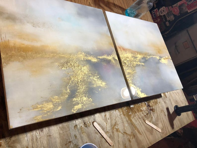 Resin Gold Leaf Pink White Yellow Series of 2  Dusted image 0