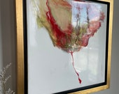 "Red Pink Gold Flower Framed Painting Resin 12"" x 12"" ""Fleur Rouge 2"""
