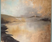 "Gold Leaf Painting Abstract - Ocean Islands - ""Northwest Coastal"" - 24"" x 24"""