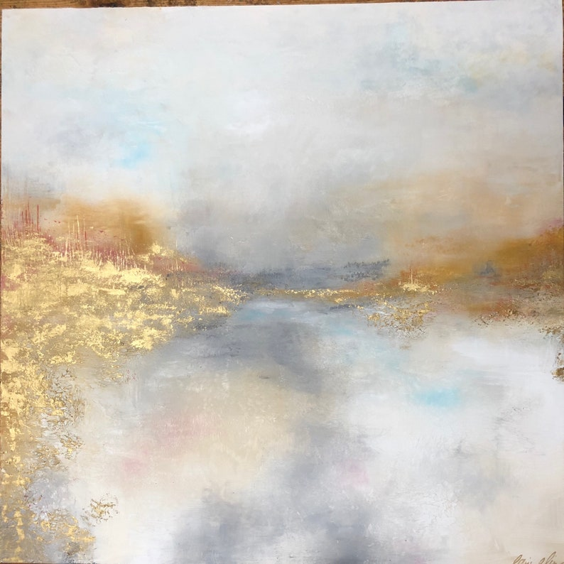 Resin Abstract White Gold Grey painting landscape   image 0