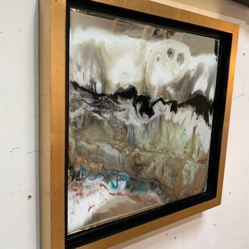 Gold Leaf Resin on Mirror Framed Painting  12 x image 0