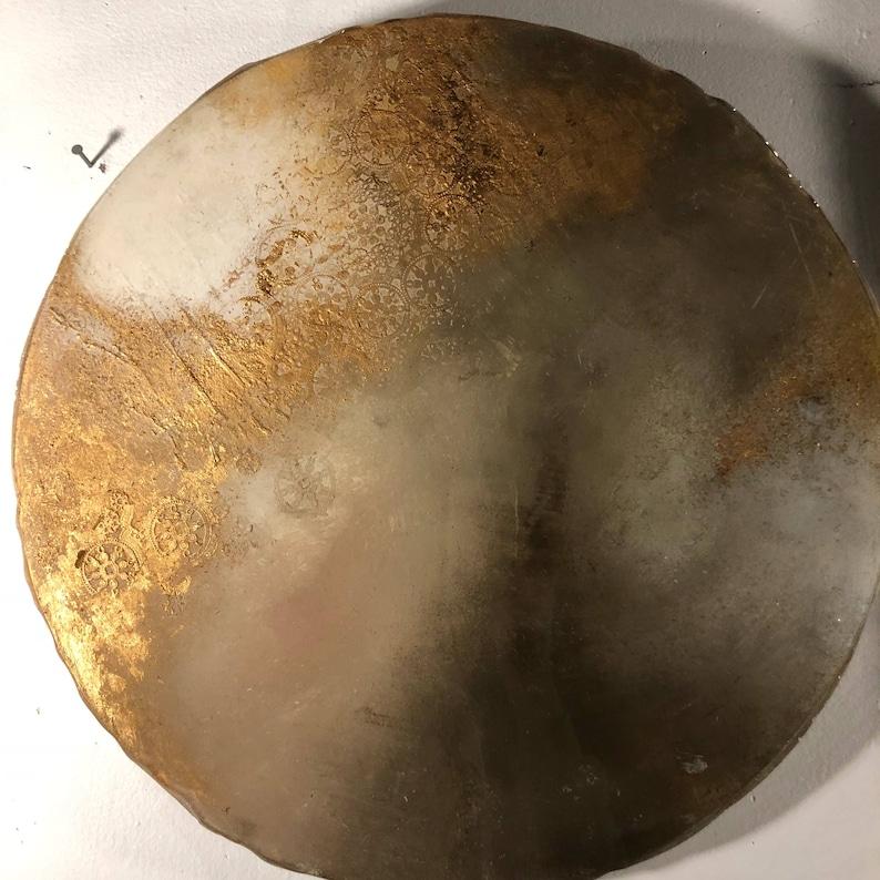 Round Resin Moon Art Gold Leaf painting 18 Circle Art on image 0