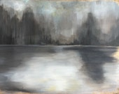 """Large Grey Gold Leaf Abstract Painting Forest  - 30"""" x 40"""" - """"Silver Fog"""" original on canvas"""