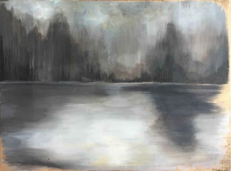 Large Grey Gold Leaf Abstract Painting Forest   30 x image 0