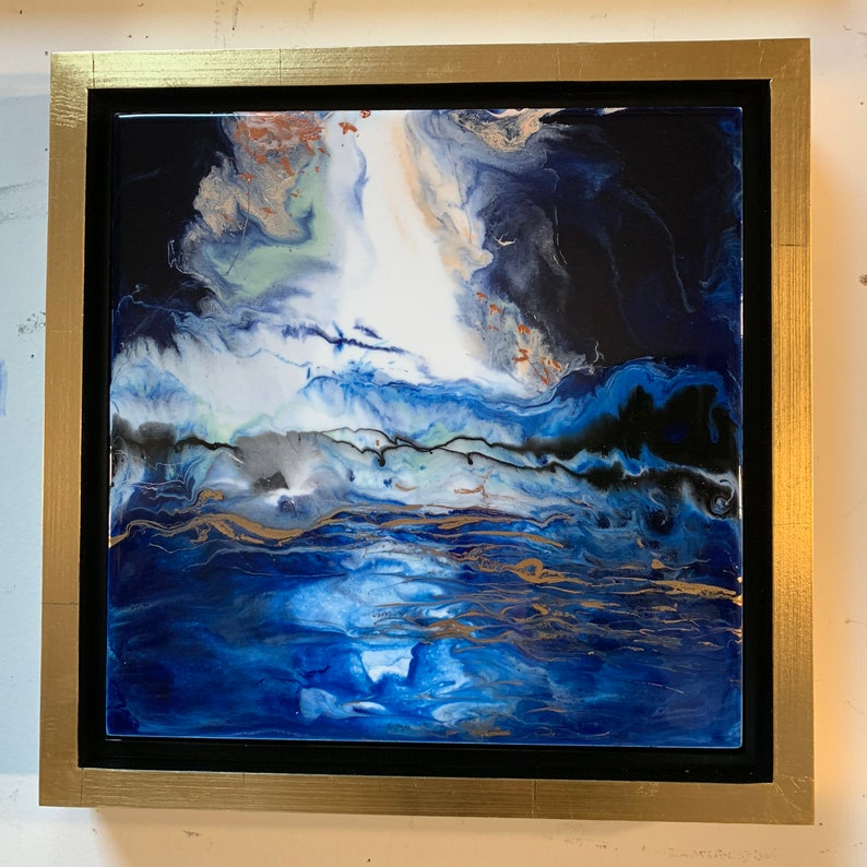 Resin Painting Abstract Art Stormy Landscape  Cloud image 0