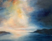 """Abstract Landscape Painting navy blush pink rose gold gold leaf """"Light through the Darkness"""" in 36"""" x 48"""" on canvas"""