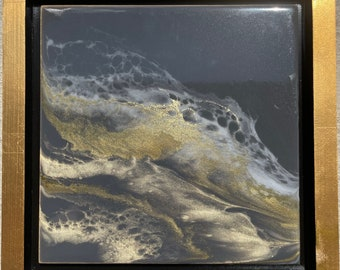 """Grey and Gold Framed Painting Resin 10"""" x 10"""""""