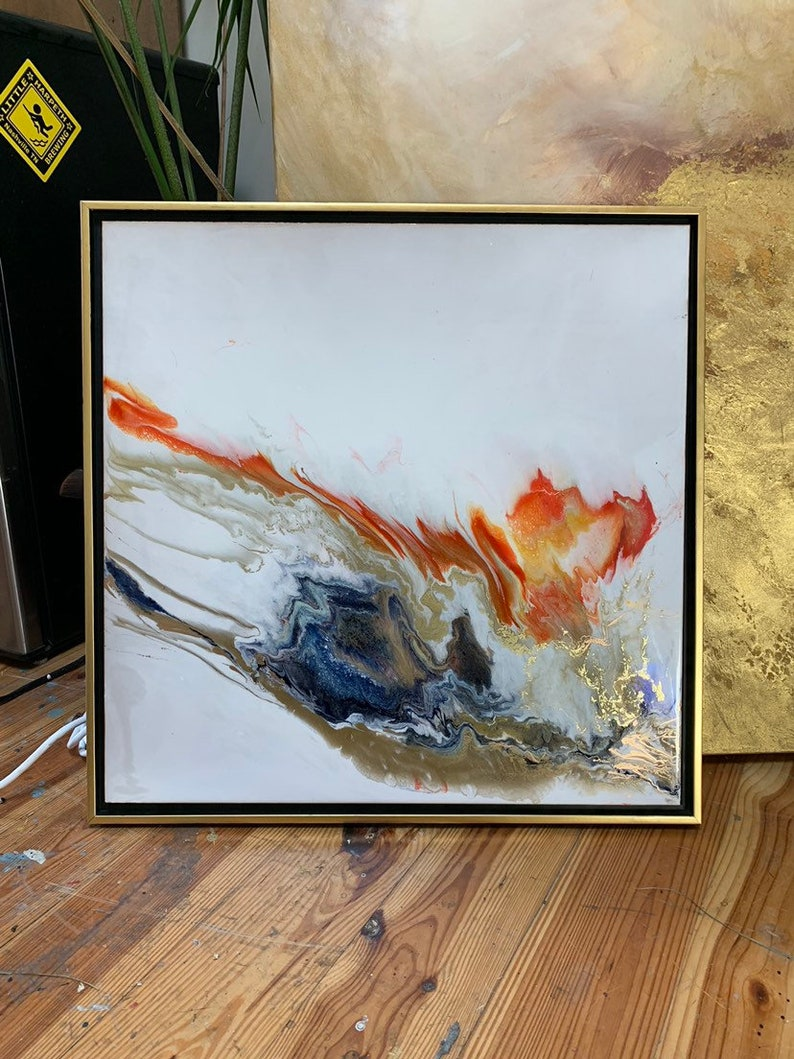 Resin Art Framed Painting Gold Red Navy Fire and image 0