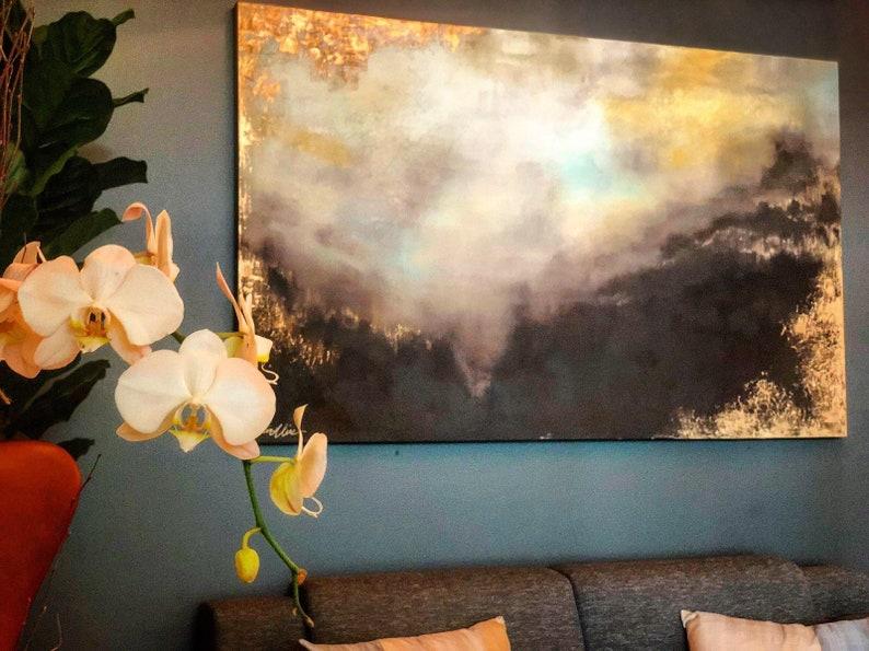 Large Gold Leaf Landscape Painting  Golden Gift image 0