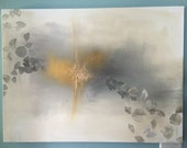 """Gold Leaf, Grey, Yellow, and White Neutral Abstract Painting -Ginkgo Dreams in 30"""" x 40"""""""