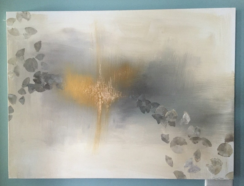 Gold Leaf Grey Yellow and White Neutral Abstract Painting image 0