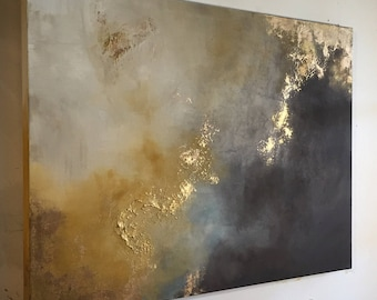 """Large Painting Gold Leaf Abstract Yellow and Brown - 30"""" x 40"""" - """"Aerial Storm"""""""