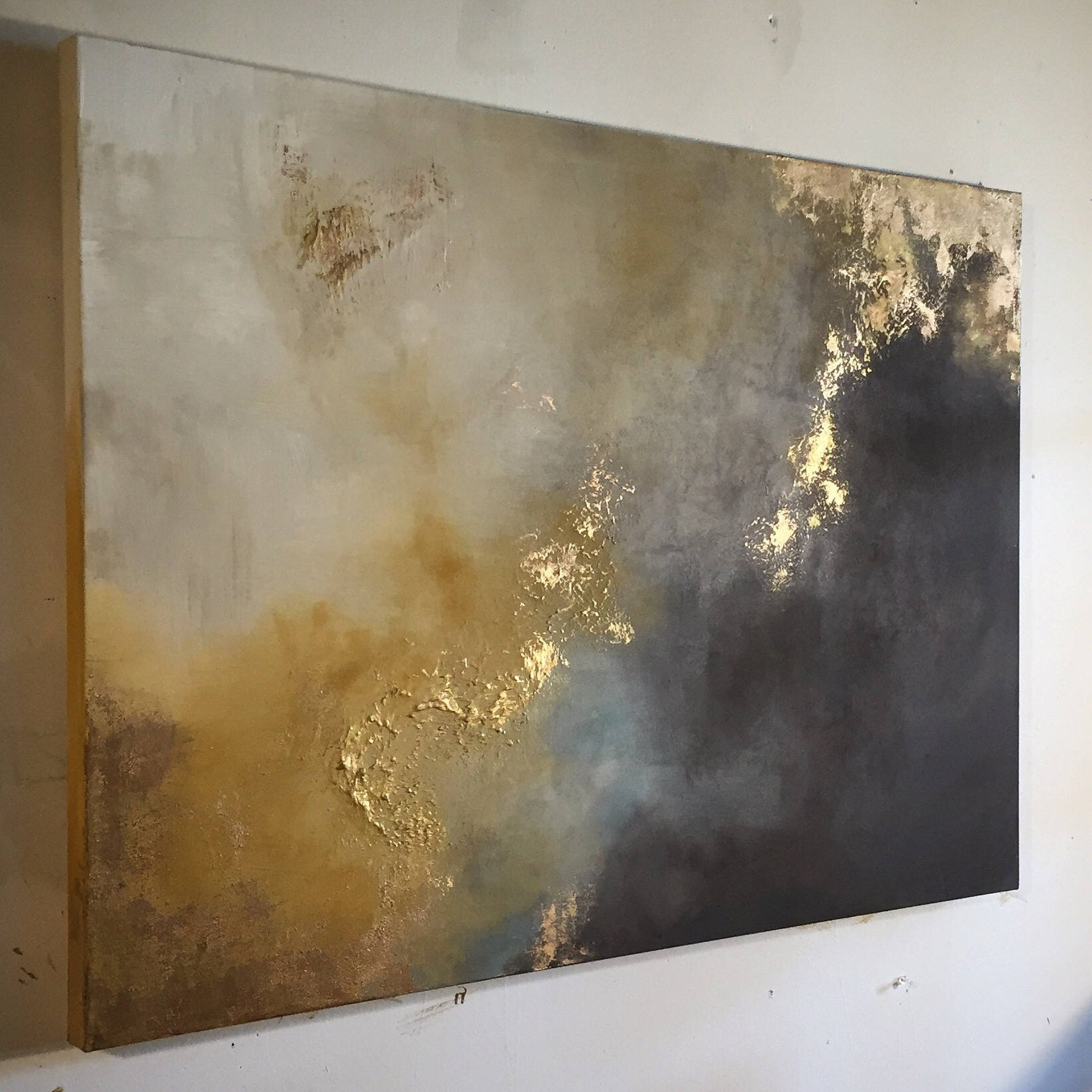 Large Painting Gold Leaf Abstract Yellow And Brown 30 Etsy