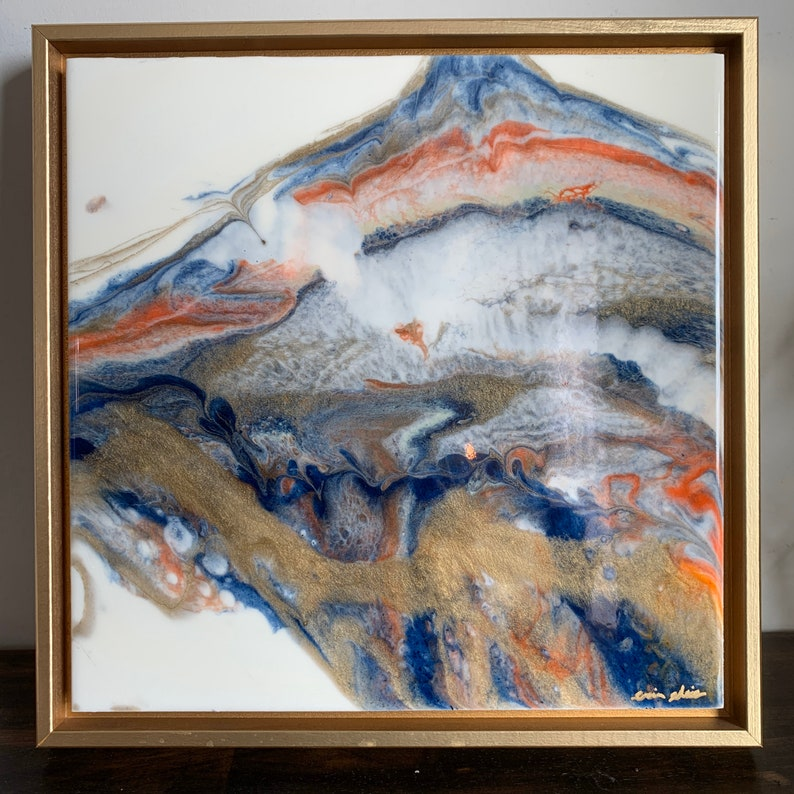 Framed Gold Leaf Resin Art Fire and Ice series image 0